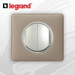 interrupteur Va-et-vient Double complet Legrand Celiane Grès Poudré (doigt large)