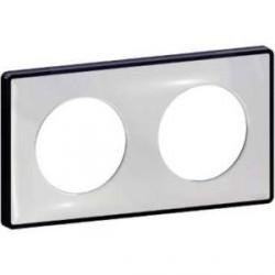 Plaque de finition Odace You Transparent, support Anthracite 2 postes entraxe 71mm Schneider