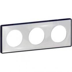 Plaque de finition Odace You Transparent, support Anthracite 3 postes entraxe 71mm Schneider