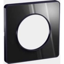 Plaque Odace Touch, miroir brillantt fumé avec liseré Anthracite 1 poste Schneider