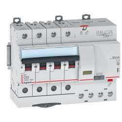 DISJ DIFFERENTIEL LEGRAND 4P C 63A 6000A AC 30MA 7 MODULES