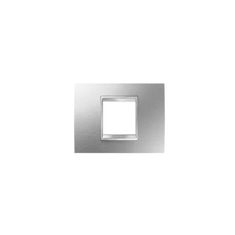 Plaque lux rectangulaire inox brosse 2m Gewiss chorus