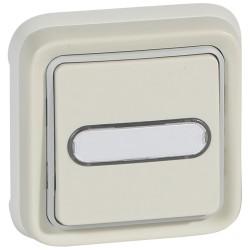 poussoir no nf lumineux prog plexo complet encastre blanc 10 a