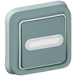 poussoir no nf lumineux prog plexo complet encastre gris 10 a