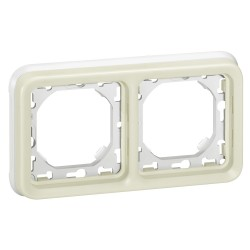 support plaque pour encastre prog plexo composable blanc 2 postes horiz