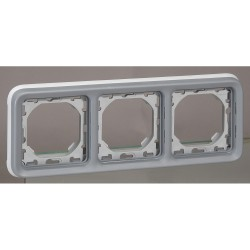 support plaque pour encastre prog plexo composable gris 3 postes horiz