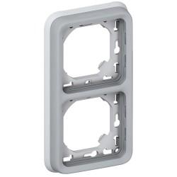 support plaque pour encastre prog plexo composable gris 2 postes vert