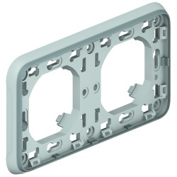 support plaque pour encastre prog plexo composable gris 2 postes horiz