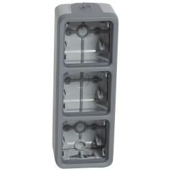 boitier a embouts prog plexo composable gris 3 postes verticaux