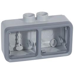 boitier presse etoupe prog plexo composable gris 2 postes horizontaux pg 16