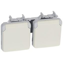 prises 2x2p t vertical precablees prog plexo composable blanc 16 a 250 v