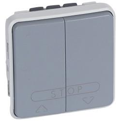 double poussoir cde boitier automatisme volet roulant prog plexo composable gris