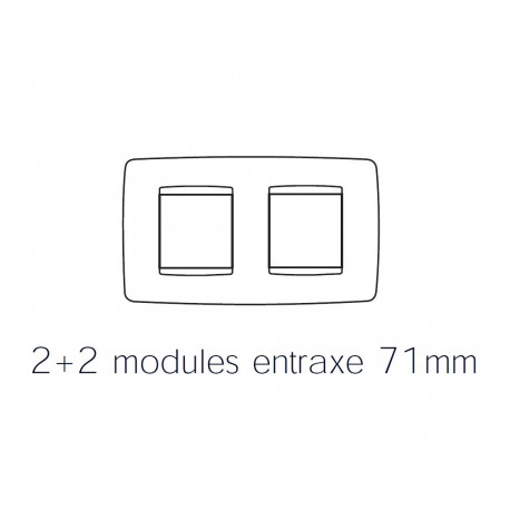 Plaque one 4m 2+2 horizontal chrome Gewiss chorus