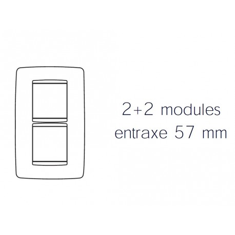 Plaque one 4m 2+2 vertical 57 titane Gewiss chorus