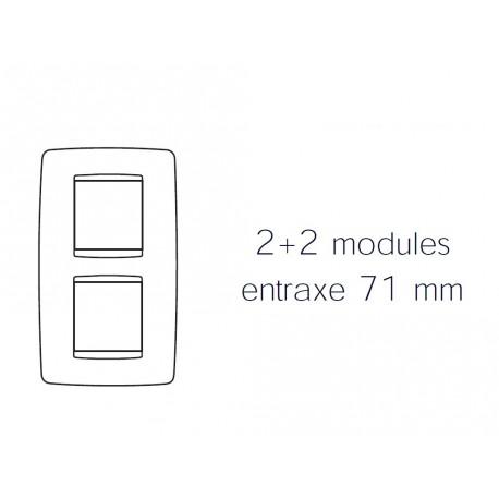 Plaque one 4m 2+2 vertical 71 blanc creme Gewiss chorus
