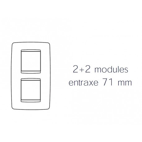 Plaque one 4m 2+2 vertical 71 titane Gewiss chorus