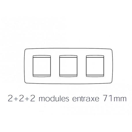 Plaque one 6m 2+2+2 horizontal noir toner Gewiss chorus