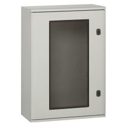 coffret polyester marina ip66 ik10 ral 7035 610x400x257 mm porte vitree