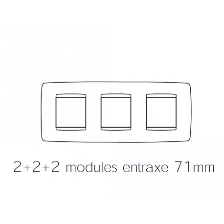 Plaque one 6m 2+2+2 horizontal titane Gewiss chorus