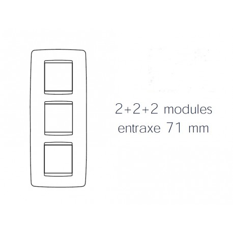 Plaque one 6m 2+2+2 vertical blanc creme Gewiss chorus