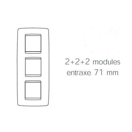 Plaque one 6m 2+2+2 vertical titane Gewiss chorus