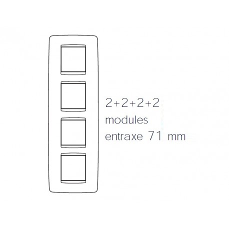 Plaque one 8m 2+2+2+2 vertical blanc or Gewiss chorus