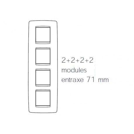 Plaque one 8m 2+2+2+2 vertical blanc creme Gewiss chorus