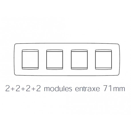 Plaque one 8m 2+2+2+2 horizontal titane Gewiss chorus