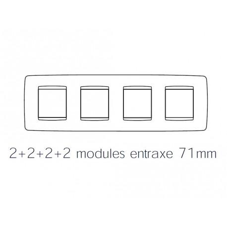 Plaque one 8m 2+2+2+2 horizontal noir toner Gewiss chorus