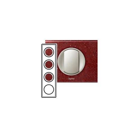 Plaque corian pompeii red 4 postes Legrand celiane entraxe 71mm