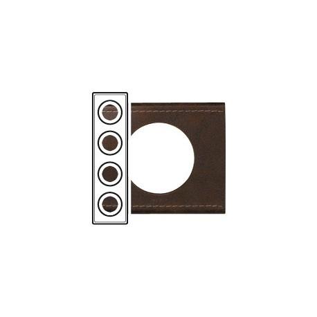 Plaque cuir brun texture 4 postes Legrand celiane entraxe 71mm