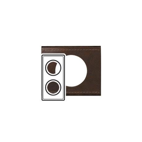 Plaque cuir brun texture 2 postes Legrand celiane entraxe 71mm