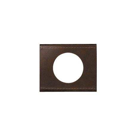 Plaque cuir brun texture Legrand celiane 1 poste avec support