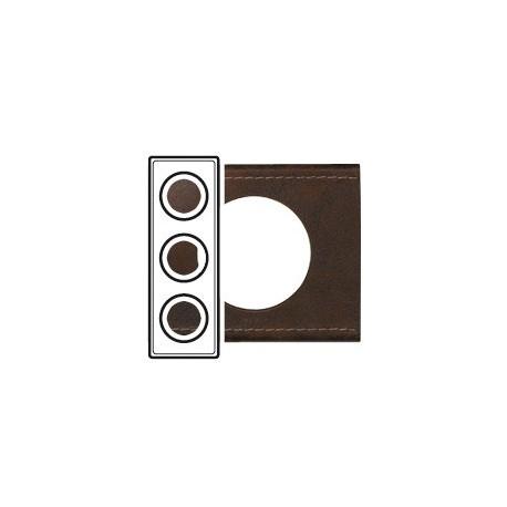 Plaque cuir brun texture 3 postes Legrand celiane entraxe 71mm