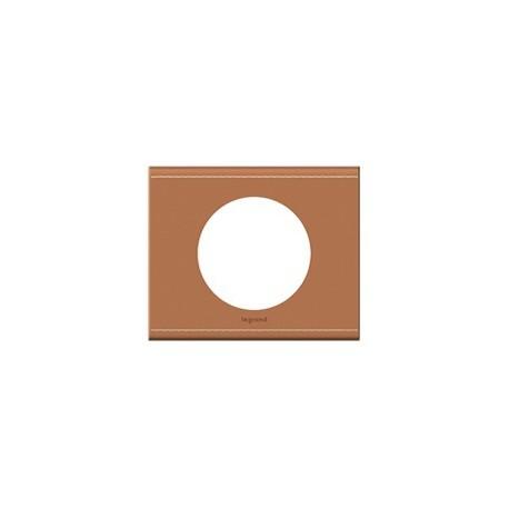 Plaque cuir camel Legrand celiane 1 poste avec support a vis