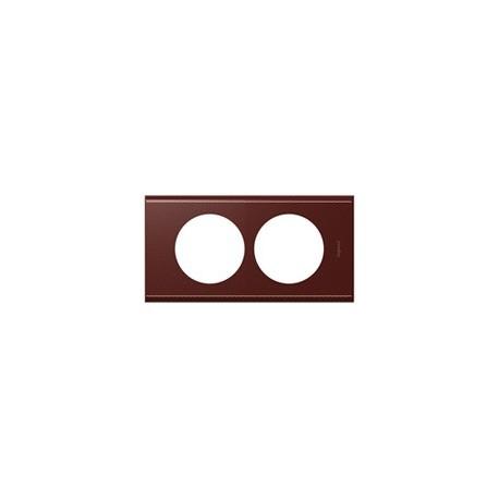 Plaque cuir lie de vin 2 postes Legrand celiane entraxe 57mm