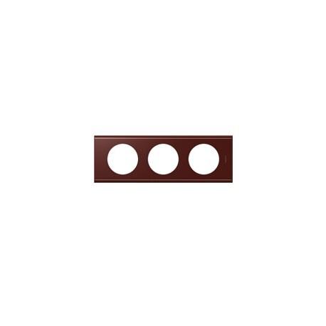 Plaque cuir lie de vin 3 postes Legrand celiane entraxe 71mm