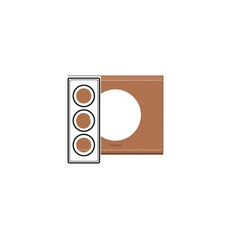 Plaque cuir camel 3 postes Legrand celiane entraxe 57mm