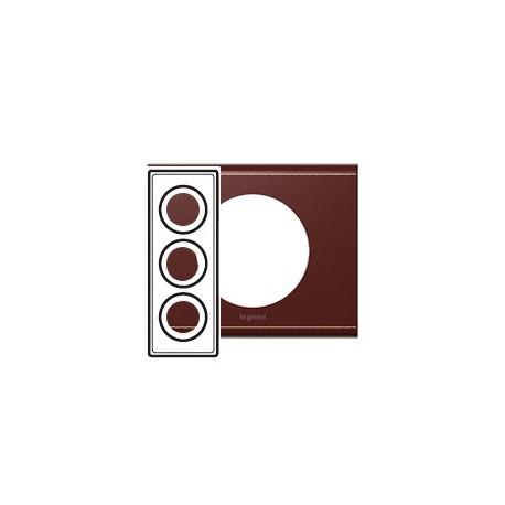 Plaque cuir lie de vin 3 postes Legrand celiane entraxe 57mm