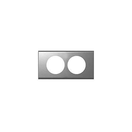 Plaque inox brosse 2 postes Legrand celiane entraxe 57mm