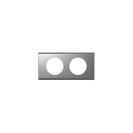 Plaque inox brosse 2 postes Legrand celiane entraxe 71mm