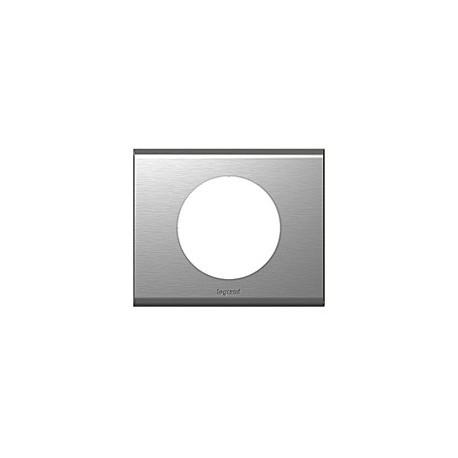Plaque inox brosse Legrand celiane 1 poste avec support