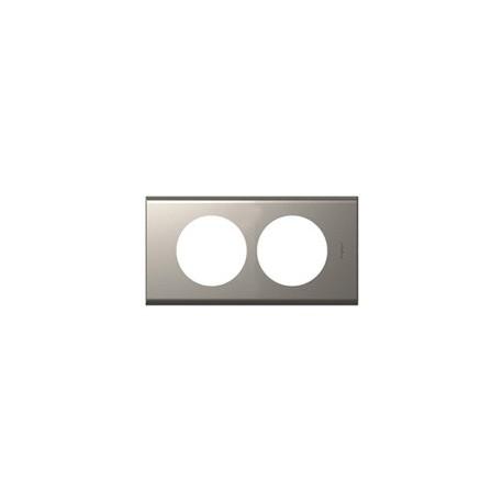 Plaque nickel velours 2 postes Legrand celiane entraxe 57mm