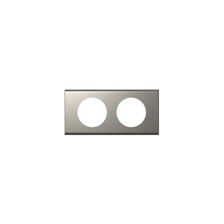 Plaque nickel velours 2 postes Legrand celiane entraxe 71mm
