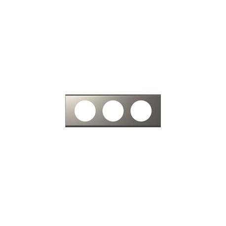 Plaque nickel velours 3 postes Legrand celiane entraxe 71mm