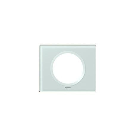 Plaque verre kaolin Legrand celiane 1 poste avec support