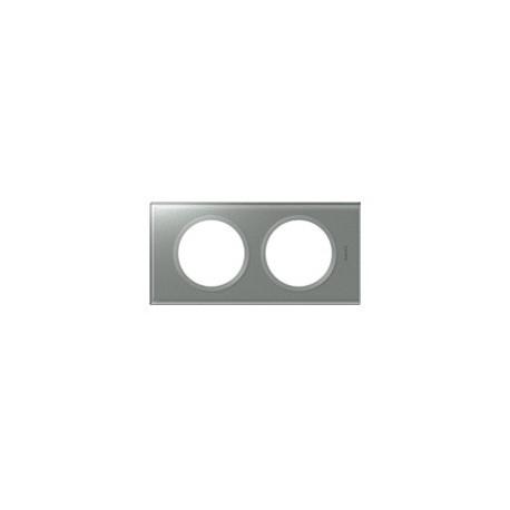 Plaque verre titane 2 postes Legrand celiane entraxe 71mm