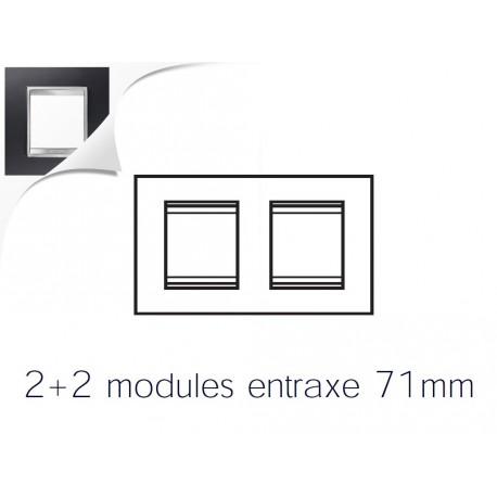 Plaque lux 4m 2+2 horizontal aluminium noir Gewiss chorus