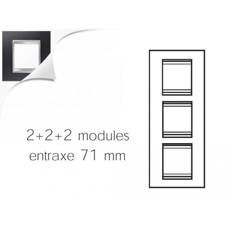 Plaque lux 6m 2+2+2 vertical aluminium noir Gewiss chorus