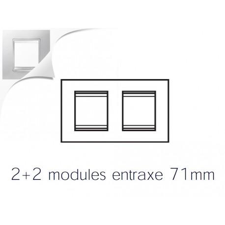 Plaque lux 4m 2+2 horizontal blanc creme Gewiss chorus